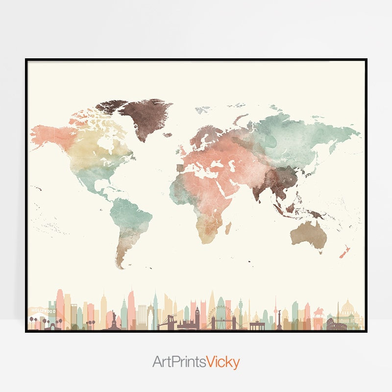 World map art world map poster world map wall art map watercolor world map art world map poster world map wall art map watercolor print pastel large world map travel map home decor artprintsvicky gumiabroncs Image collections