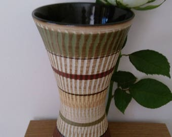 Attractive Vintage West German Textured Vase In Muted Colours
