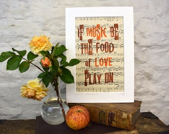 Shakespeare love  letterpress print, food of love, Twelfth Night, music print