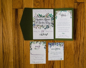 Botanical Watercolor Wedding Invitation Collection