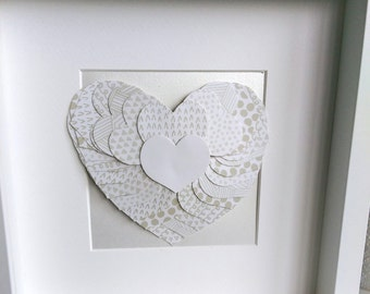 Heart Wedding gift, 3D heart of hearts, pop up heart, Personalised anniversary present, Coffee and Cream love heart, Framed 3D heart picture