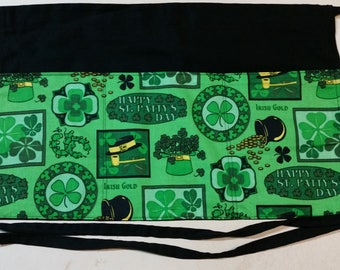 Saint Patrick's Day Half Server Black Waitress Apron 3 Pockets