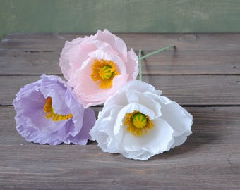3 Poppies, bridal bouquet, bridesmaids bouquet, wedding bouquet, paper flower bouquet, wedding paper flowers, paper poppy