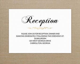 Wedding Reception Cards, Wedding Reception Invitation, Wedding Reception Insert Template, DIY Wedding, Wedding Reception Card