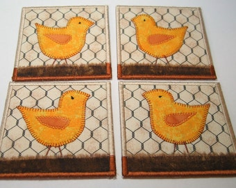 Chicken coasters -- yellow chickens on dirt (set of 4)
