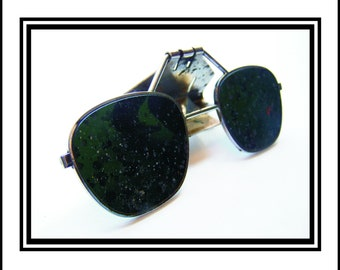 Vintage Clip On Flip Up Welding Glasses Heavily Scorched Dark Green Lenses