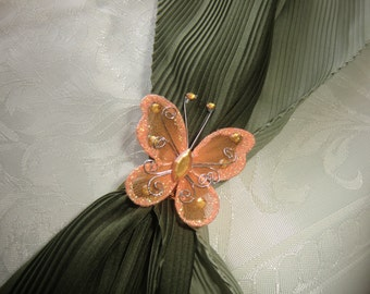 Scarf Clip, beautiful orange butterfly, pay for 3 different ones  - get  extra one free