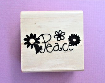 Peace Papercraft Rubber Stamp Quote with Flowers Peace Saying and Phrase Scrapbooking Supply Stamp Wood Stamp DIY Card Making Greeting Cards