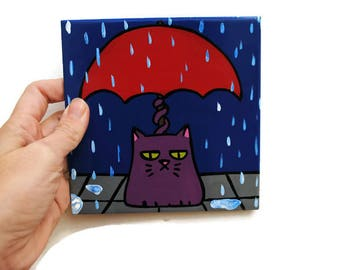 Grumpy Cat Tile - Badass Cat Illustration - Angry Cat Painting - Cat in the Rain - Fun Cat Art -  Funny Cat Picture -  Hand Painted Tile