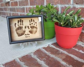 Wood Engraved Handprint Keepsake