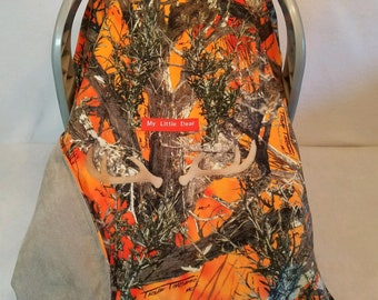 Car Seat Canopy Cover True Timber Blaze Orange Faux Suede Baby! n Tan Lining Cozy Hand Made Infant Custom Embroider My Little Dear & Antlers