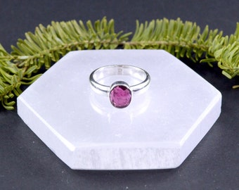 Petite Faceted Pink Tourmaline Ring // Tourmaline Jewelry // Sterling Silver // Village Silversmith