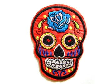 Red Sugar Skull Embroidered Patch Appliqué Skull and Crossbones