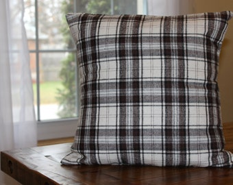 Brown Lumber Jack Plaid Pillow Cover, Throw Pillow, Plaid Pillow Cover, Cottage Decor, Country Decor