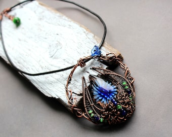 Lampwork Copper wire wrapped pendant, Heady glass necklace, Wire wrapped jewelry, Lampwork pendant necklace, Glass blown necklace, OOAK