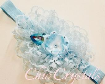 Blue chiffon lace headband, girls headband, toddler headband, lace headband, rhinestone headband, 1st Birthday, photo prop, hair accessories