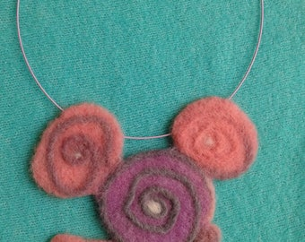 Felted art necklace ,necklace made of wool