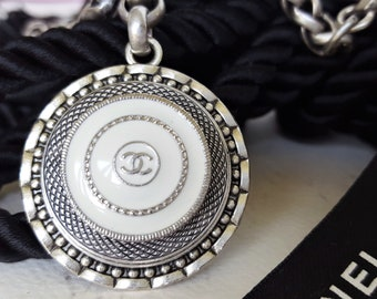 Authentic Designer Button Necklace Toggle, Silver and White pendant, Beautiful Birthday Gift, upcycled Designer Button Jewelry veryDonna