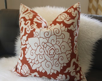 "decorative pillow cover - burnt orange floral - 24""x24"""
