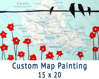Custom Map Painting // Get a Customized Map Art Wedding Gift or Map Art Anniversary Gift 15x20