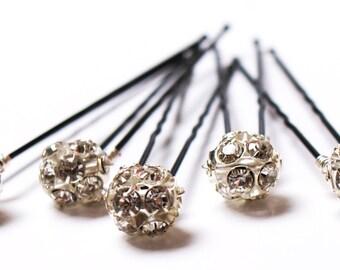 Large Crystal Hair Pins. Crystal Wedding Hair Pins. Set of 5. Swarovski Crystal 10mm Bridal Hairpins. Prom Hairpins. Fireball Bobby Pin