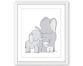 Elephant Nursery Art Print -- Elephant Family Art -- Kids Wall Art -- Baby Elephant Art -- One Big Happy Family -- gifts for baby