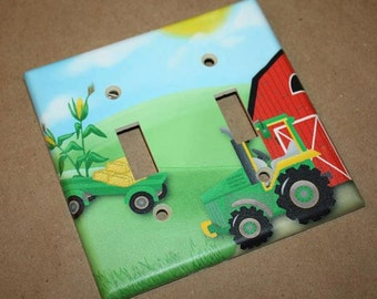 Big Green Tractor Boys Bedroom Double Light Switch Cover