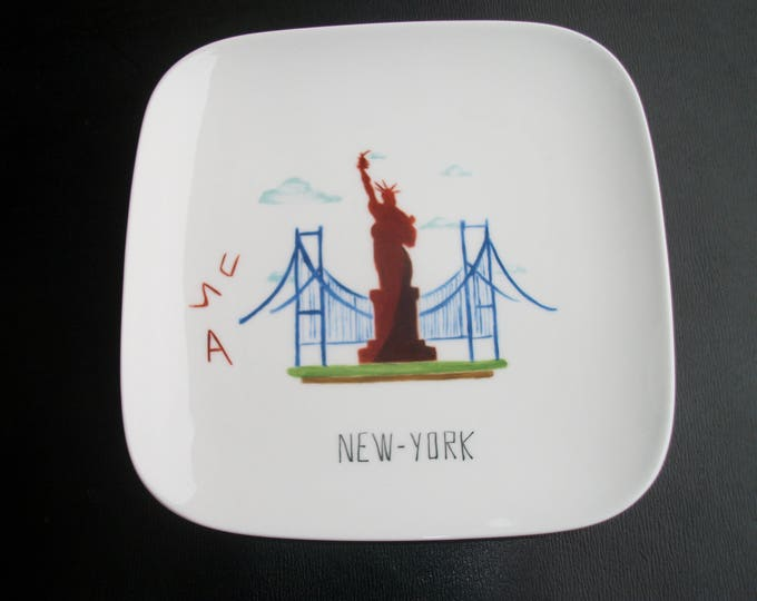 plate / entry / / square / handpainted porcelain / New York / USA / design