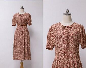 Vintage 80s Red Garden Floral Summer Smock Dress | Japaness Midi Vintage Dress L or XL
