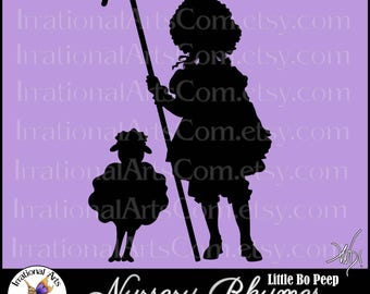 Little Bo Peep Silhouette 1 - Vector Vinyl Ready Images with 1 EPS, SVG and PNG Digital Files and Scl Nursery Rhymes sheep lamb staff