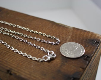 Antique Silver Textured Finish Cable Link Chain with Lobster Clasp, 16, 18, 24, 28, 32 inch length