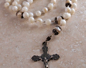 Mary Most Pure - Mother of Pearl and Bronze Catholic Rosary by the Peaceful Bead