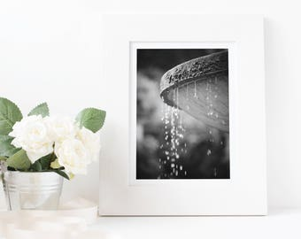 Droplets water feature, Dyffryn Gardens - photography wall art & poster print - Various sizes in Black and White