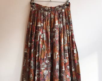 Vintage printed summer hippie boho skirt S/M