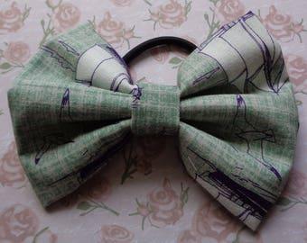 Grey Nautical Sail Boat Fabric Hair Bow