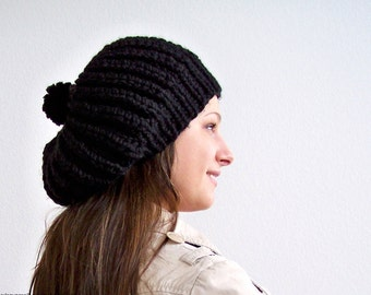 Knit Slouchy Hat, Black Knit Hat With Pom Pom Hat, Womens Slouchy Beanie Hat, Chunky Knit Hat, Knit Slouchy Beanie, Knit Slouch Hat, Pom Hat