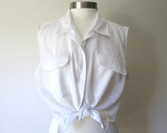 white blouse to tie at waist, minimal button up shirt, sleeveless top with patch pockets, vintage extra large plus size