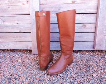 J Crew riding boots 7.5 / womens riding boots / cognac brown tall leather boots / knee high boots / equestrian boots