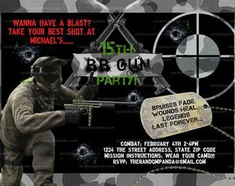 BB Gun Invitation, Combat and Camo, Pellet Gun Party invite