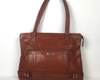 Vintage 1980s Cognac Brown Leather Shoulder Bag