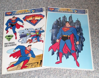 Vintage, Americana  Pair Superman, Man of Steel WIndow/Mirror Clings for the Super Hero in your life! - Estate find!