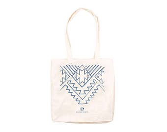 Tote bag Kindred Spirits pattern / Canvas tote bag / Cotton tote bag / Shopping bag printed / Grocery bag / Ethnic print / Blue print tote