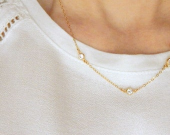 Gold necklace, Three diamonds necklace, Wedding choker necklace, Sideways diamond necklace, Dainty gold necklace, Diamond jewelry