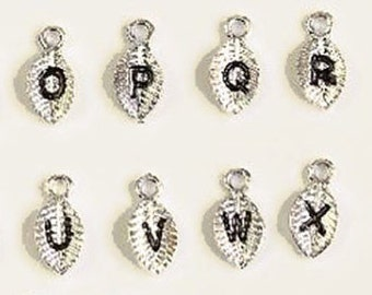 26 Initial Leaf Charms, Silver Plated Tone, Alphabet Charms, Jewelry Findings