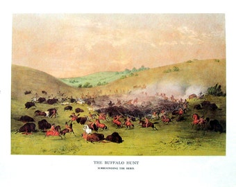 Currier and Ives Print - The Buffalo Hunt, The Buffalo Chase, Buffalo Bull Chasing Back - 1968 Vintage Book Page - 12 x 9