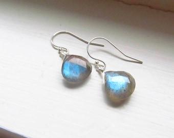 Labradorite earrings sterling silver gold fill heart faceted blue fire flash petite