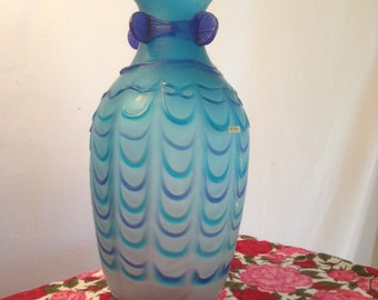 "Glass vase,Vintage vase,12.5"" tall ,milk glass ,vase, hand blown, blue"