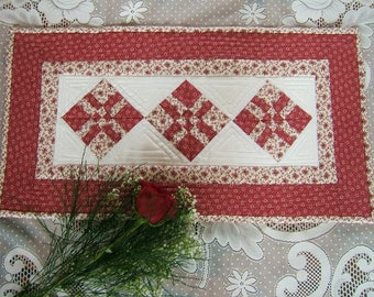 Red and White Miniature Table Runner or Wall Hanging  (item # 255)