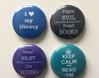 Book-lover 1-inch pinback buttons (Set of 4)