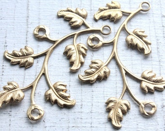 Vintage Brass Leafy Vine Stampings // Jewelry Connector Attachments // Cluster Necklace Pendants // NOS Jewelry Craft Supply